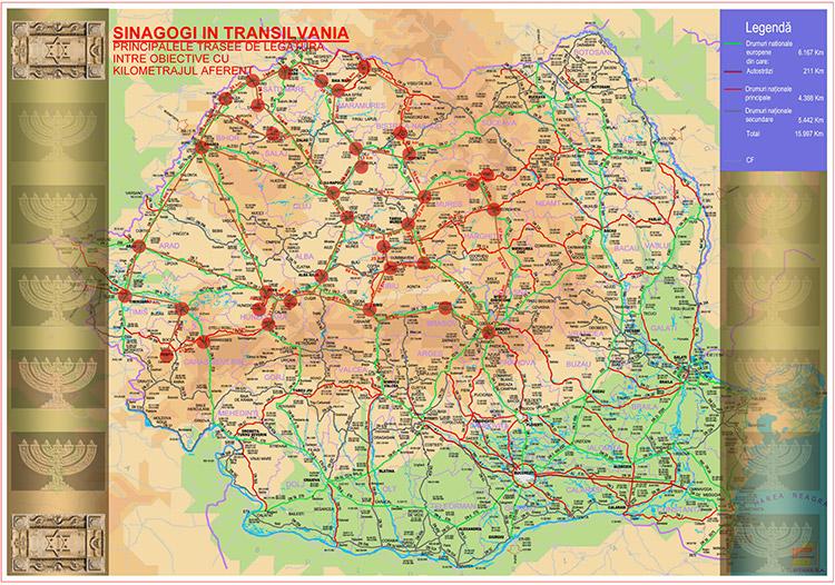 Principalele trasee de legătură între obiective cu kilometrajul aferent